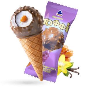 мороженое рожок тоффи
